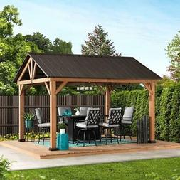 Sunjoy 10 ft. x 12 ft. Cedar Framed Gazebo with Steel Gable