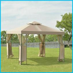 10 x 10 FT Gazebo with Coffee Canopy and Mosquito Netting Me