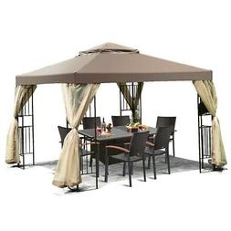 10 x 10 Ft Outdoor Patio Gazebo with Taupe Brown Canopy and