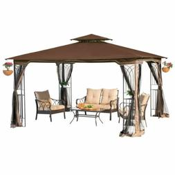 10 x 12 Regency II Patio Gazebo with Mosquito Netting in Bro