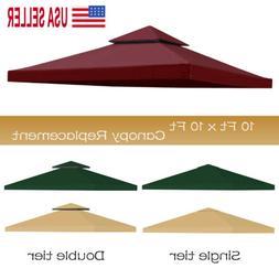 10'x10' Waterproof Gazebo 1 2Tier Top Replacement Canopy UV