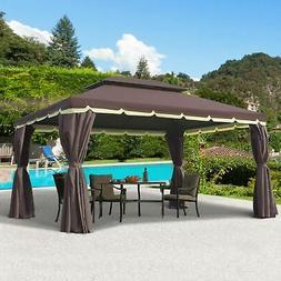10'x13' Aluminum Gazebo Tent Garden Shelter Sidewalls Roof P