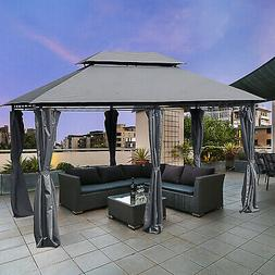 10'x13' Outdoor 2-Tier Vented Canopy Steel Gazebo BBQ Party