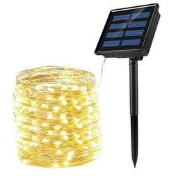 100/200LED Outdoor Solar Curtain Fairy String Lights Hanging