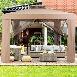 Tangkula 10'x 10' Canopy Gazebo Tent Shelter, Art Steel
