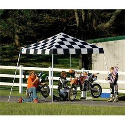 10x10 Slant Leg Pop-up Canopy, Checkered Flag Cover, Black R