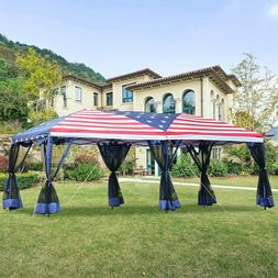 10x20ft Party Tent American Flag Canopy Gazebo Outdoor USA P