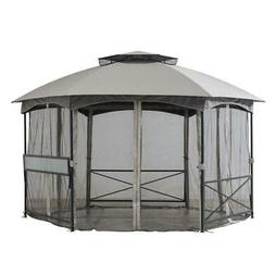 Sunjoy 11 ft. x 14 ft. 2-tone Hexagon Steel Gazebo with 2-ti