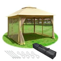 11x11ft Pop-Up Gazebo Tent with Mesh Sidewall Canopy Shelter