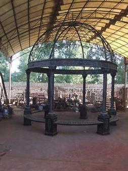 12' CAST IRON ROUND ESTATE VICTORIAN STYLE GAZEBO - INDOOR O