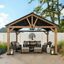 Sunjoy 12 ft. x 14 ft. Cedar Framed Gazebo with Steel Gable