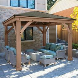 Yardistry 12' x 12' Cedar Gazebo With Aluminum Roof @@