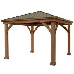 Yardistry 12' X 12' Cedar Gazebo With Aluminum Roof Model: Y