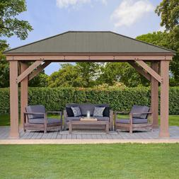 12' x 16' Cedar Gazebo With Aluminum Roof, Assembly Required