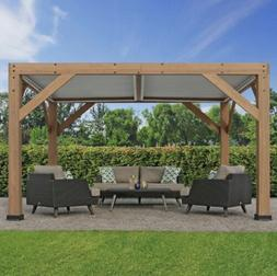 Yardistry 13' x 11' Cedar Room With Louvered Roof, NEW SHI