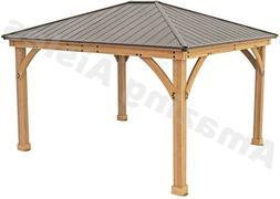 Yardistry 14ft x 12ft  Cedar Gazebo with Aluminium Roof Gard