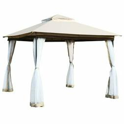 2-Tier 10' x 10' Canopy Gazebo Tent Shelter with Mosquito Ne