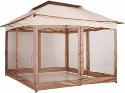 2-Tier Gazebo with Zippered Netting Folding Brown Patio Gard
