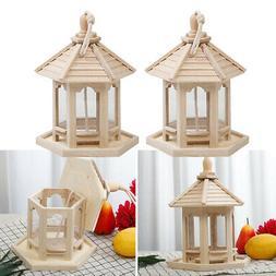 2x Garden Hanging Wood Bird Feeder Gazebo Pavilion for Yard