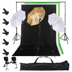 "3 x45w Light Bulb 3x33"" Umbrella 3 Backdrop( 5 x 10 ft)"