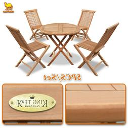 4 Chairs 1 Round Table Patio 5pc Folding Solid Teak Wood Din