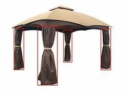 APEX GARDEN 4 Poles Brown Corner Curtain Set for Lowe's 10'