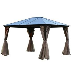 ALEKO Aluminum Frame Hardtop Gazebo with Removable Mesh Wall