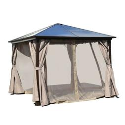 ALEKO Aluminum Hardtop 10x10 ft Gazebo with Curtains and Rem