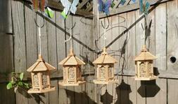 Bird feeder FOUR PACK Hanging Wooden Gazebos Garden Yard Pat