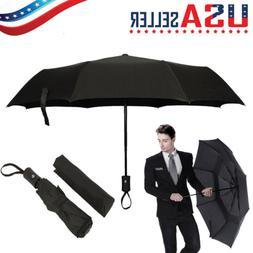 Black Automatic Travel Umbrella Auto Open Close Compact Fold