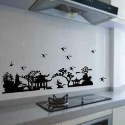 Black Gazebo Tree Bird Wall Art Decal Home Paper Sticker
