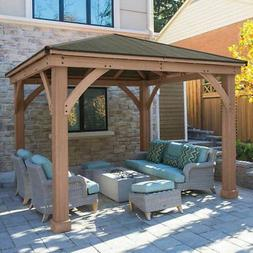 Yardistry Cedar Wood 12' x 12' Gazebo with Aluminum Roof @@