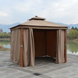ALEKO Double Roof Gazebo 10x10 ft with Curtains Aluminum Leg