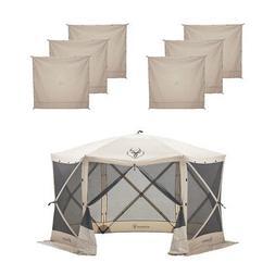 Gazelle G6 8 Person Canopy Gazebo Screen Tent & Wind Panel A