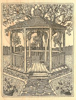 Garden Gazebo Scene Wood Mounted Rubber Stamp Impression Obs