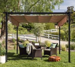 Pergola Gazebo Retractable Canopy Shade Garden Outdoor Backy