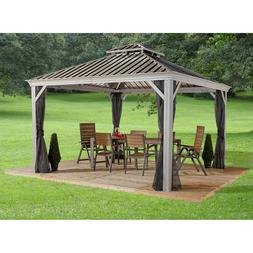 Gazebo 12' x 14' Pool Patio Sun Shelter Steel Roof with Mosq