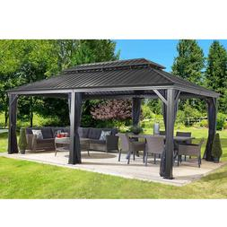 Gazebo 12' x 16' Pool Patio Sun Shelter Steel Roof with Mosq