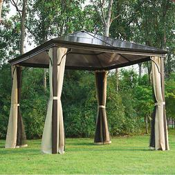 Outsunny 10'x10' Gazebo Canopy Patio Hard Roof Shelter Curta