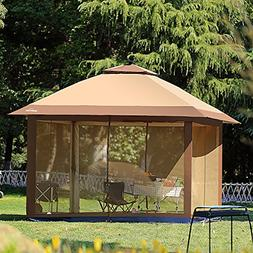 12' x 12' Outdoor Gazebo Canopy with Mosquito Netting and So