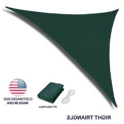 Green Right Triangle Sun Shade Sail Fabric Awning Top Canopy