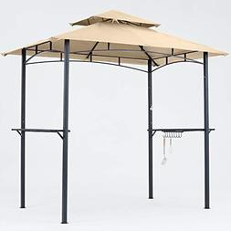 Grill Gazebo Double Tiered Outdoor BBQ Gazebo Canopy with LE
