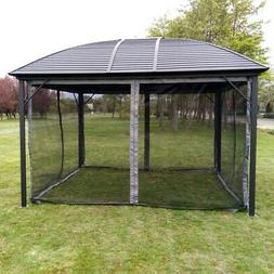 ALEKO Hardtop Round Roof Patio Gazebo with Mosquito Net - 12