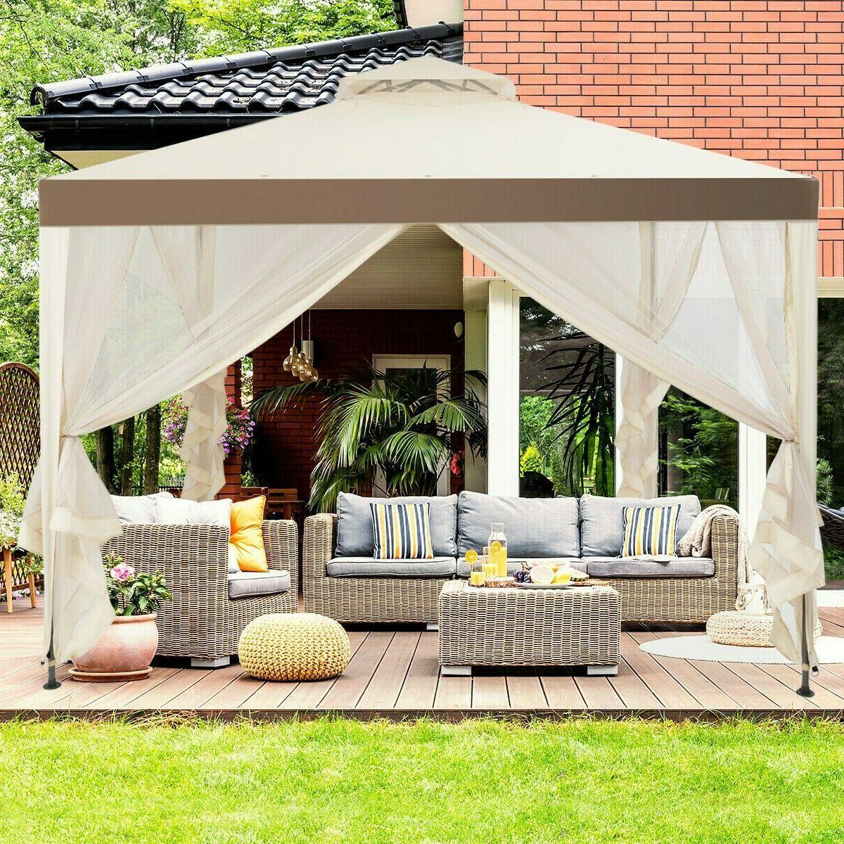 10' Gazebo Steel Frame Gazebo Beige Lawn Tent