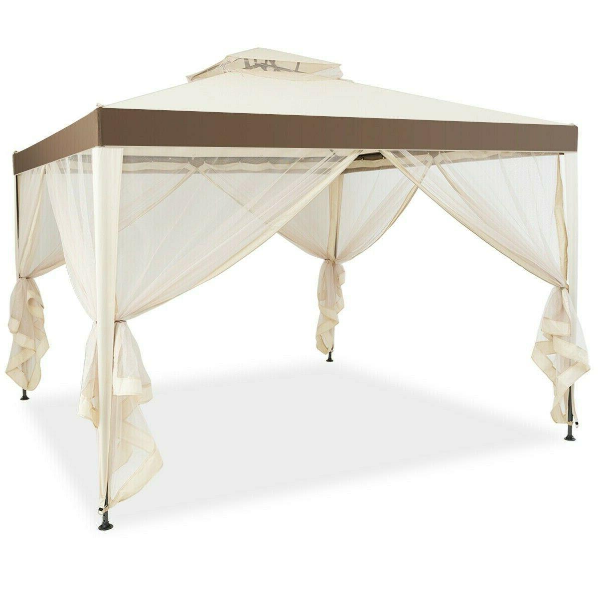 10' X 10' Outdoor Gazebo Steel Frame Gazebo Lawn Tent