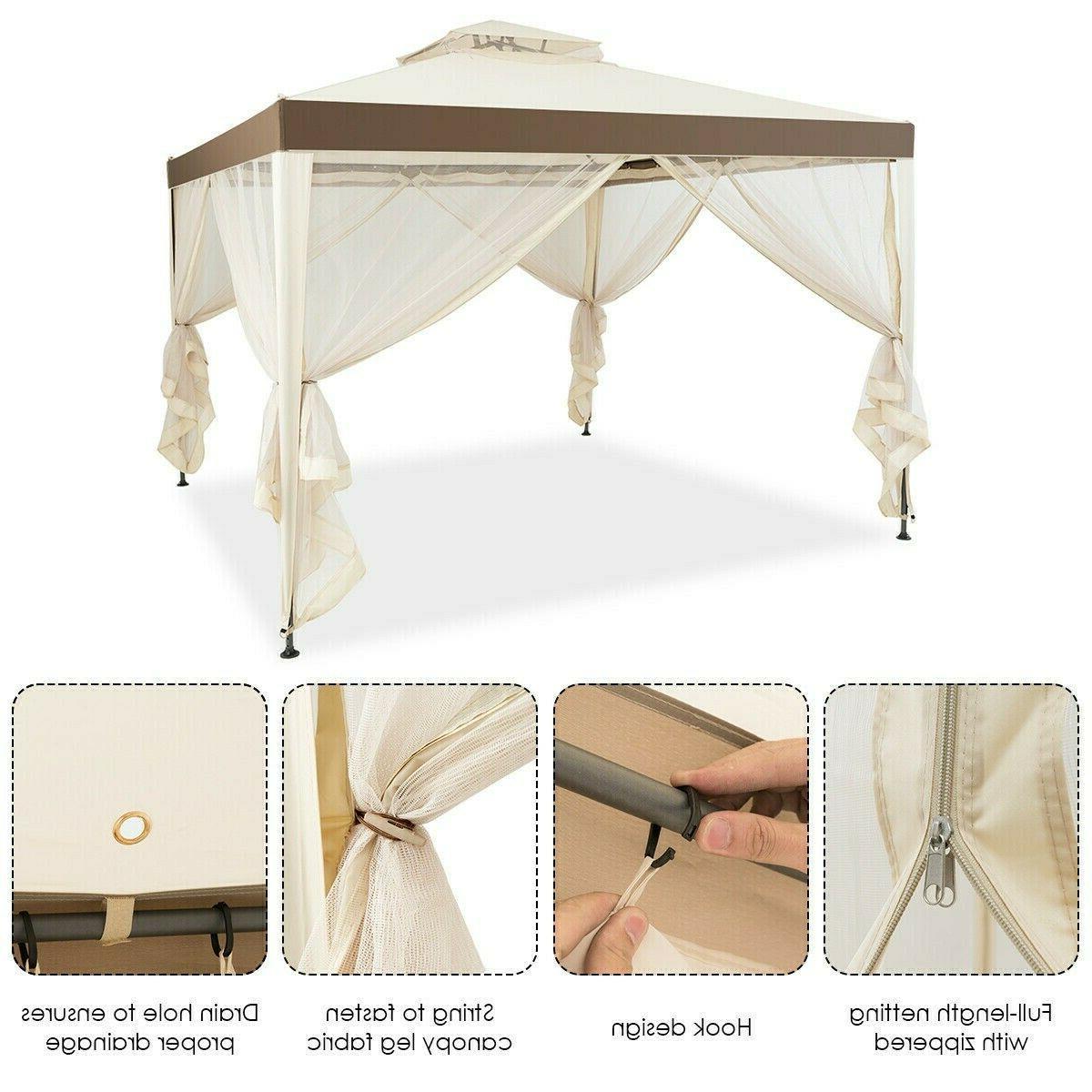 10' X Gazebo Frame Gazebo Netting Beige Lawn Tent
