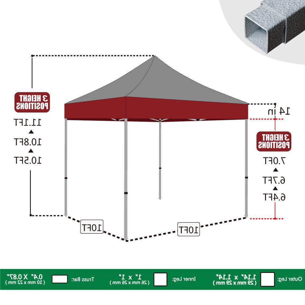 10X10 Pop Canopy Heavy Duty Commercial Patio Gazebo Instant Shade Tent