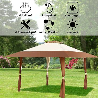 13'x13' Folding Gazebo Canopy Shelter Awning Tent Garden Outdoor Companion