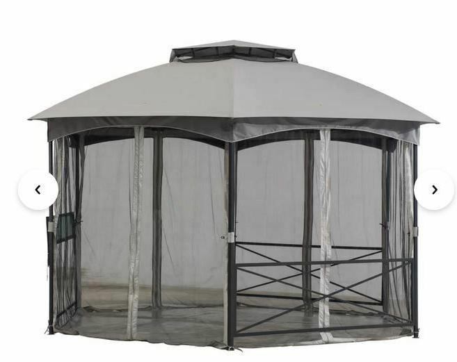 Sunjoy 15 x Steel Patio Gazebo,Two-tier roof,Mesh
