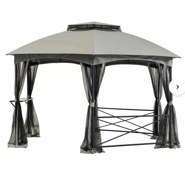 Sunjoy 15 W x Steel Hexagon roof,Mesh Screens